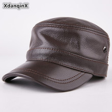 XdanqinX 2019 New Style Men's Cap Winter Genuine Leather Brand Cowhide Warm Baseball Caps For Men Bone Adjustable Size Army Cap