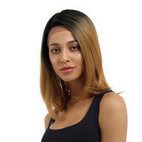 Hair Straight Wig With Bangs fine hair look Thicker Wigs Pre Plucked Short Human Hair Wigs Natural Color Bob Wigs 40cm 1D27