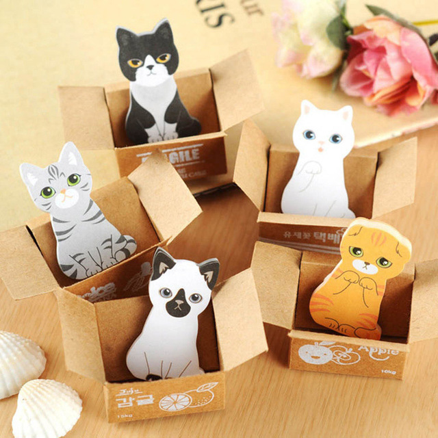 5 Pcs/lot Cartoon Cat Self-Adhesive N Times Memo Pad Sticky Notes Bookmark Stationery Planner Stickers School Office Supplies