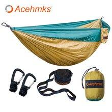 Acehmks en alliage daluminium Snap hamacs pour 2 personnes lit de couchage en plein air Camping balançoire Portable ultra léger Design 300*200 CM