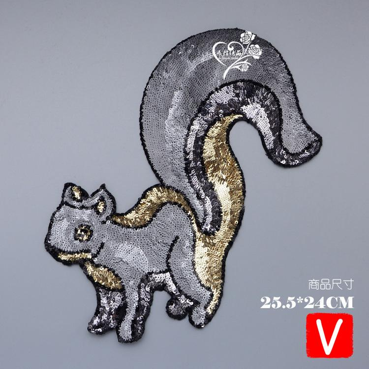 embroidery big squirrel patches for jackets,animal badges applique clothing A620