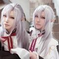 Anime máscara On serafín Cosplay Ferid Bathory Cos de Halloween gris púrpura pelucas