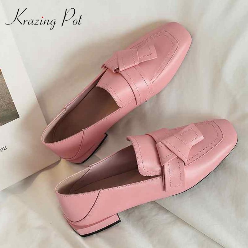 Krazing 냄비 높은 패션 정품 가죽 슬립 펌프 여성 광장 발가락 영국 학교 큰 크기 43 42 41 bowtie 브랜드 신발 l52-에서여성용 펌프부터 신발 의  그룹 1