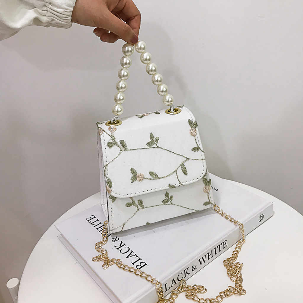 Women Bag Fashion Single Pearl Small Square Mobile Wild Messenger Shoulder taschen women bolsa masculina sac femme bolso mujer