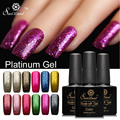 Saviland 1 unids 10 ml Brillo 3D Platino Gel UV LED Nail Polish Semi Permanente Colorido Brillante Empapa Del Gel laca