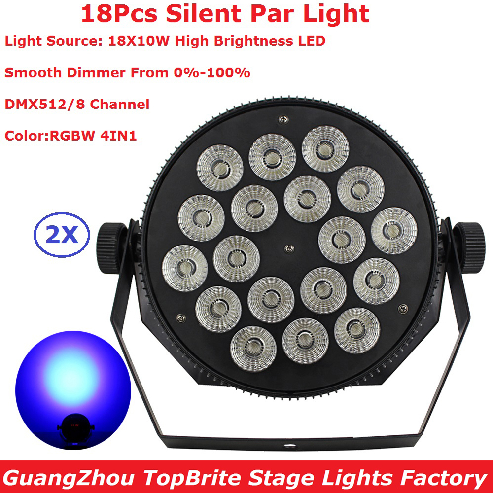 Fast Shipping 2Pack 18X10W Led Silent Par Lights RGBW 4IN1 Flat Par Led DMX512 Disco Lights Professional Stage Dj Equipments newest magic ball lights 2pack 12x3w rgbw 4in1 led gobo effect lights for party disco dj christmas lighting shows fast shipping