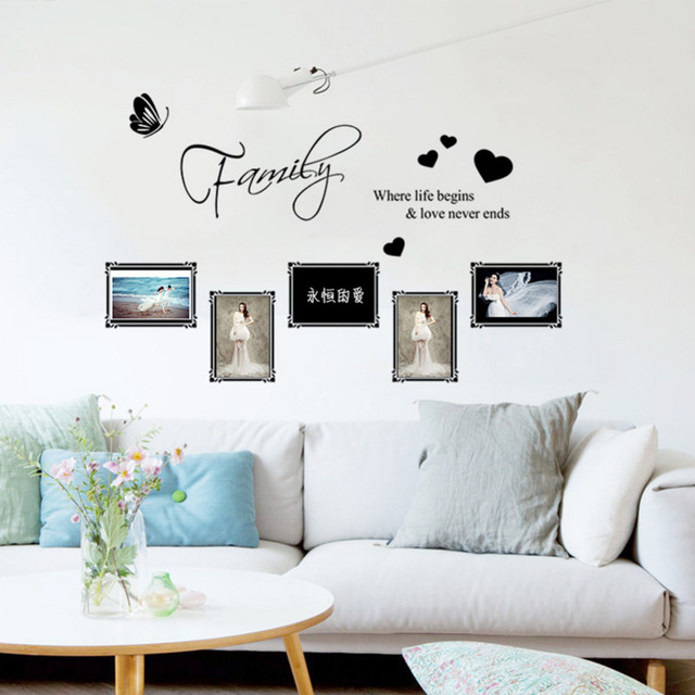Sweet Family Butterfly Love Heart Photo Frames Wall Stickers Home ...