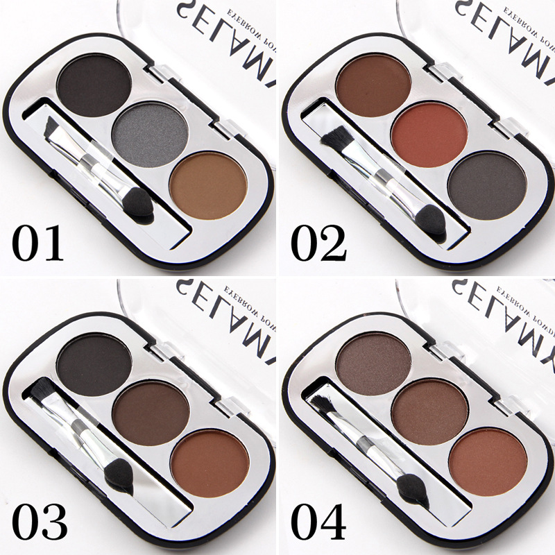3 Colors Waterproof Pigments Eyes Makeup Eyebrow Powder Palette with Brush Black Brown Minerals Eye Brow Tattoo Cosmetic 6