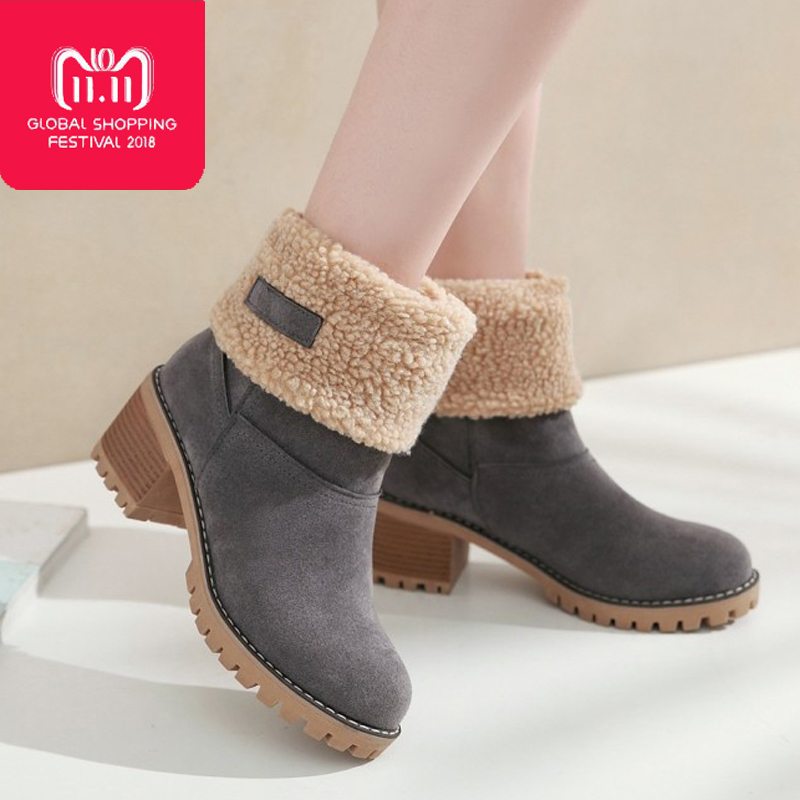 цены New 2018 Women Boots Winter Shoes women warm fur Snow Boots Non-slip Square heel platform Ankle Boots for women big size 35-43