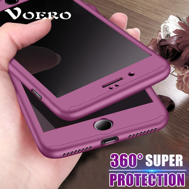 brand new cf76f 792e8 US $2.79 5% OFF VOERO 360 Degree Protection Case For iPhone X ten Cover For  iPhone 7 8 6 6S Plus 10 X Case Full Cover Slim + Tempered Glass-in Fitted  ...