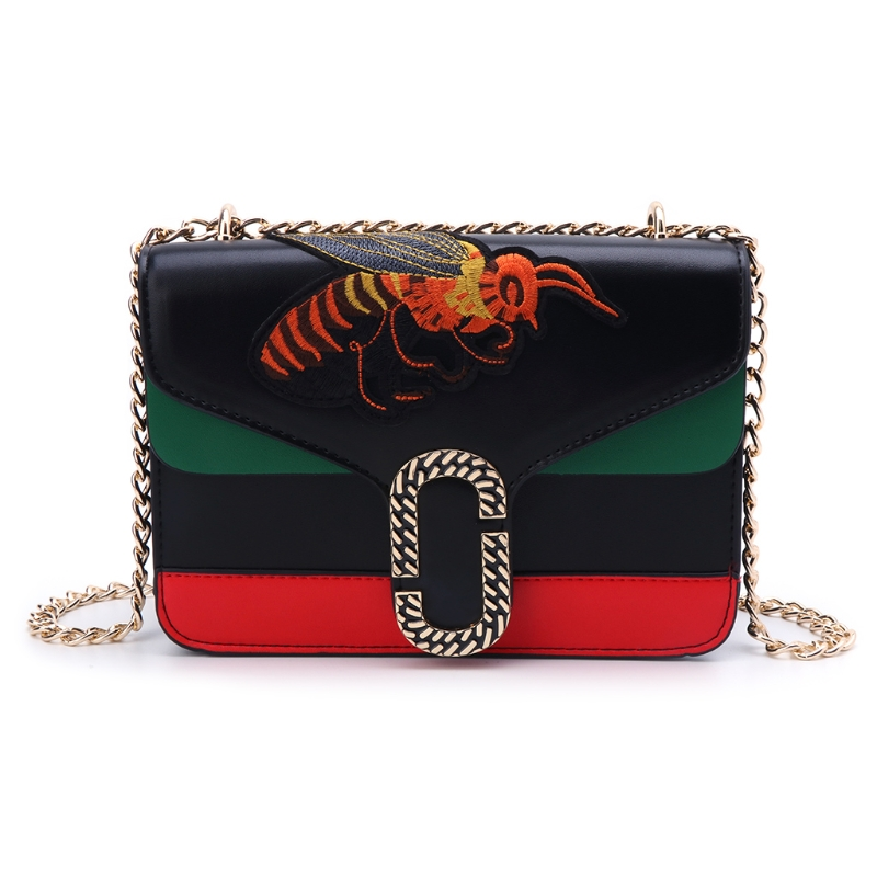 2018 Womens PU Leather Mini Embroidery Bee Shoulder Bag Chain Messenger Crossbody Handbag Purse New
