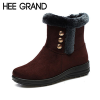 HEE GRAND 2017 New Wedges Winter Women Ankle Boots Faux Fur Creepers Casual Shoes Woman Women