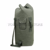 Men's Outdoor Travel Luggage Bag Army Bucket Backpack Multifunctional Military Canvas Backpacks Duffle Shoulder Bags Green
