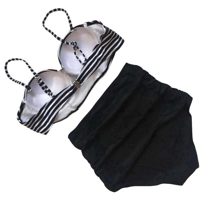 2019 Vintage Stripe Tummy Control Tankini Bikini Plus Size Swimwear Women 2 Piece Bathing Suit Push Up High Waist Swimsuit S XL in Bikinis Set from Sports Entertainment