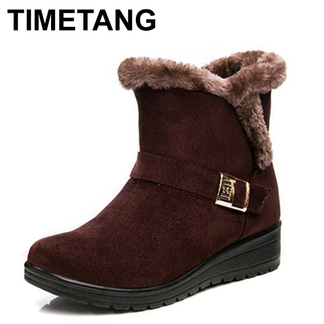 TIMETANG Women Boots 2017 Fashion Warm Snow Boots Ankle Winter Boots For Women Shoes Black Red Plus Size 41