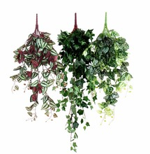 Flower Vine Rattan Hanging Plant Artificial Leaves vine Wall Basket Accessories Balcony wall Home Decoration Green