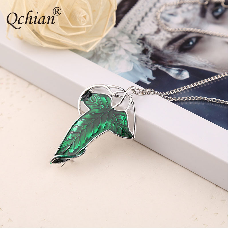 Hobbit Princess Green Leaf Jewelry Pendant Necklace Pectoral Unisex Movie Commemorative Small Gifts