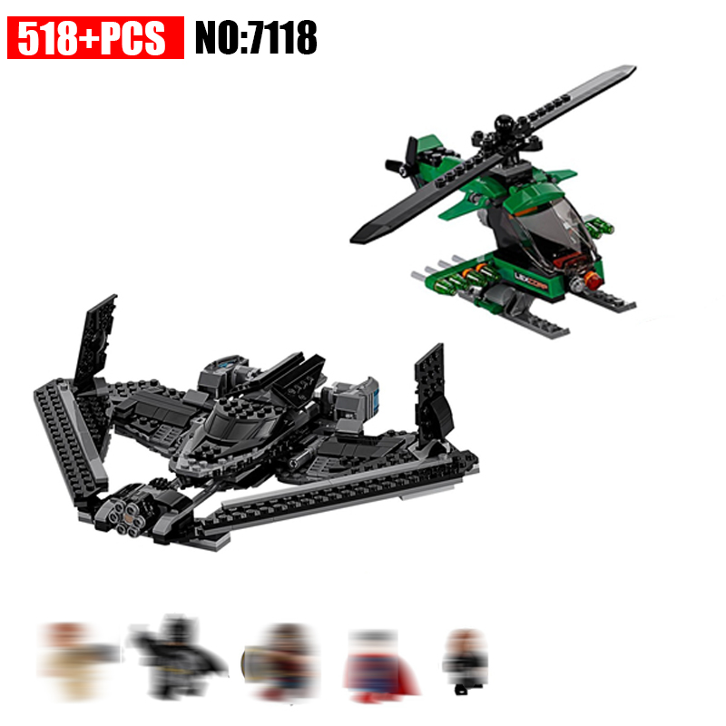 518pcs 7118 Building Blocks Superes Heroes Batman of Justice SKY High Battle Children Toys for Children compatible 76046 vigar flower power 7118