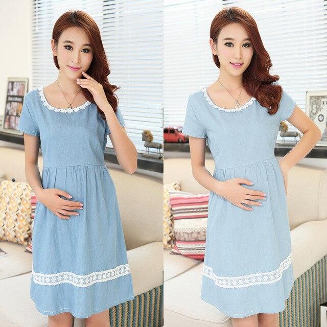 Denim Cotton Lace Maternity Dresses Vestidos Plus Size Casual Knee