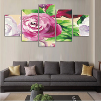 Big Size 5 Pcsset Flowers Decoration Pink Rose Canvas Painting Wall Art Pictures For Living Room