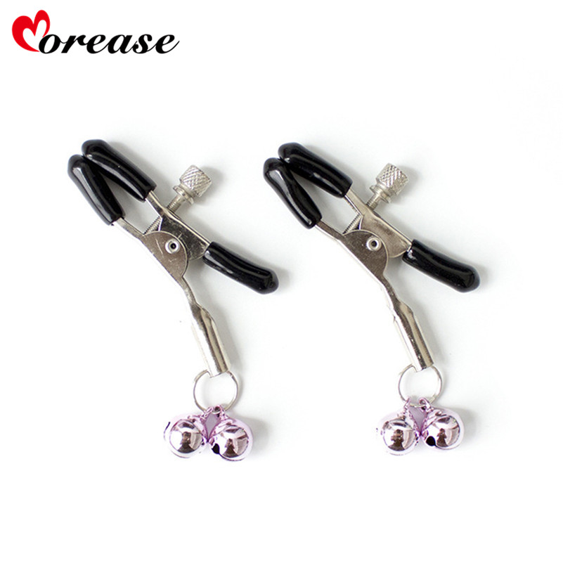 Morease Nipple Clamps Clips Double Bell Jewellery Bust Massager Stimulate Sex Toy Products Flirt Adult Game For Women Bdsm