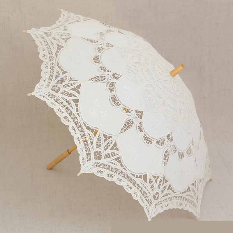 Kseniya Queen Umbrella Lace White Black Cotton Wedding Parasol Personal Umbrella Vintage Wedding Parasol Bridal Kids