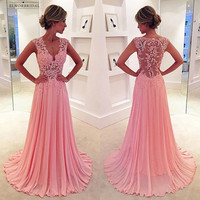 Sexy Pink Lace Evening Dresses Long 2018 V Neck A Line Prom Gowns Women Formal Party Dress Chiffon Robe De Soiree