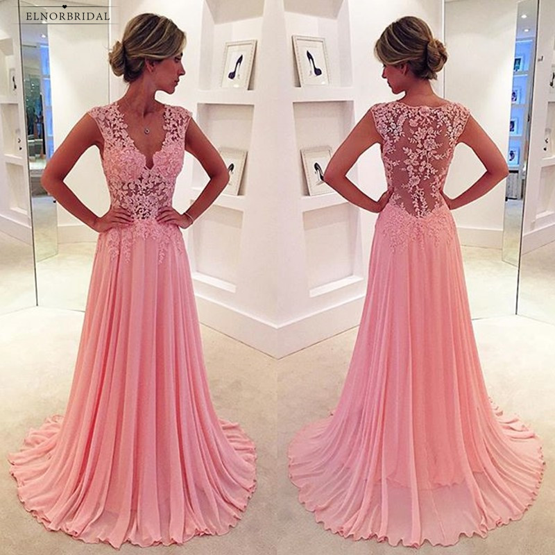 Sexy Pink Lace   Evening     Dresses   Long 2019 V Neck A Line Prom Gowns Women Formal Party   Dress   Chiffon Robe De Soiree