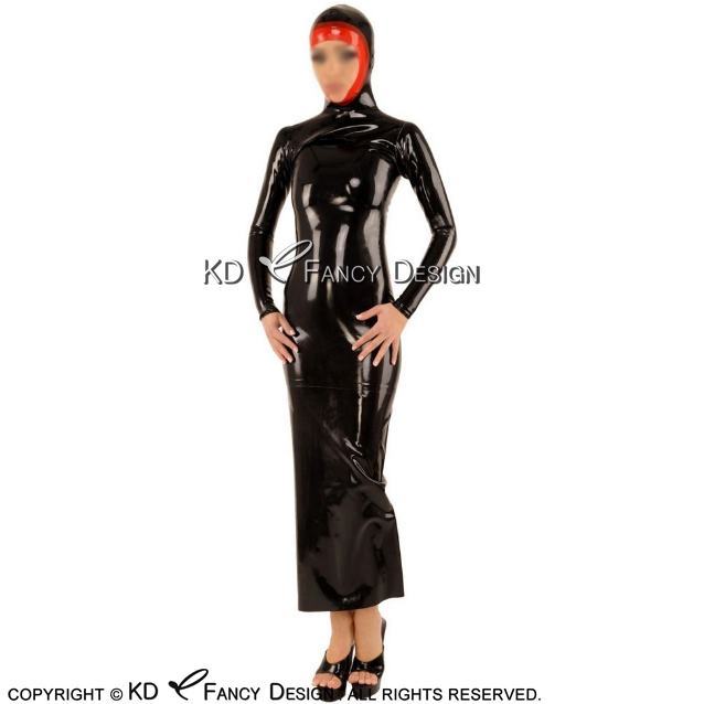 Black With Red Trims Sexy Latex Dress Aodai With Hoods Open Face Zipper Back Rubber Ao Dai Playsuit Bodycon LYQ-0150