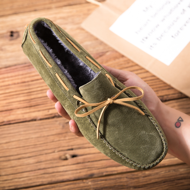 Men Shoes Genuine Leather Moccasin Loafers With Fur Winter Tenis Masculino Adulto Keep Warm Slip On Flats Gommino Driving Shoes 2