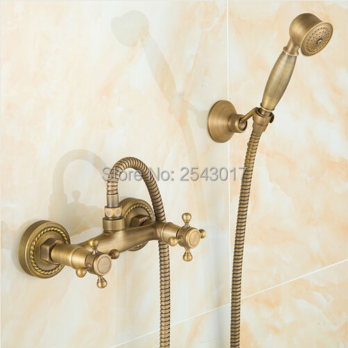 New Arrivals Antique Bronze Copper Shower Faucet Dual Handle Wall Mounted Luxury Bathroom Shower Set Classic Style ZR002New Arrivals Antique Bronze Copper Shower Faucet Dual Handle Wall Mounted Luxury Bathroom Shower Set Classic Style ZR002