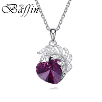 BAFFIN Romantic Jewelry Feather Heart Pedant Necklaces Original Purple Crystals From SWAROVSKI 925 Silver Collares For Women