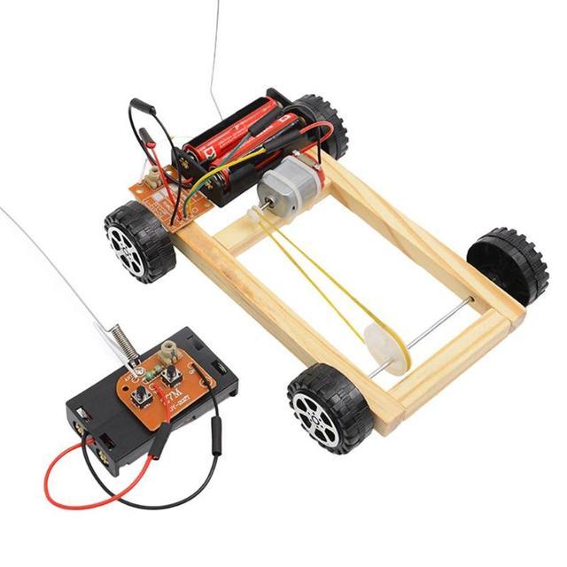 Remote Control Car Parts Wooden Handcraft DIY Four Wheel