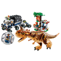 New 595pcs Jurassic World Carnotaurus Gyrosphere Escape Model Building Block Toys For Children Bela 10926