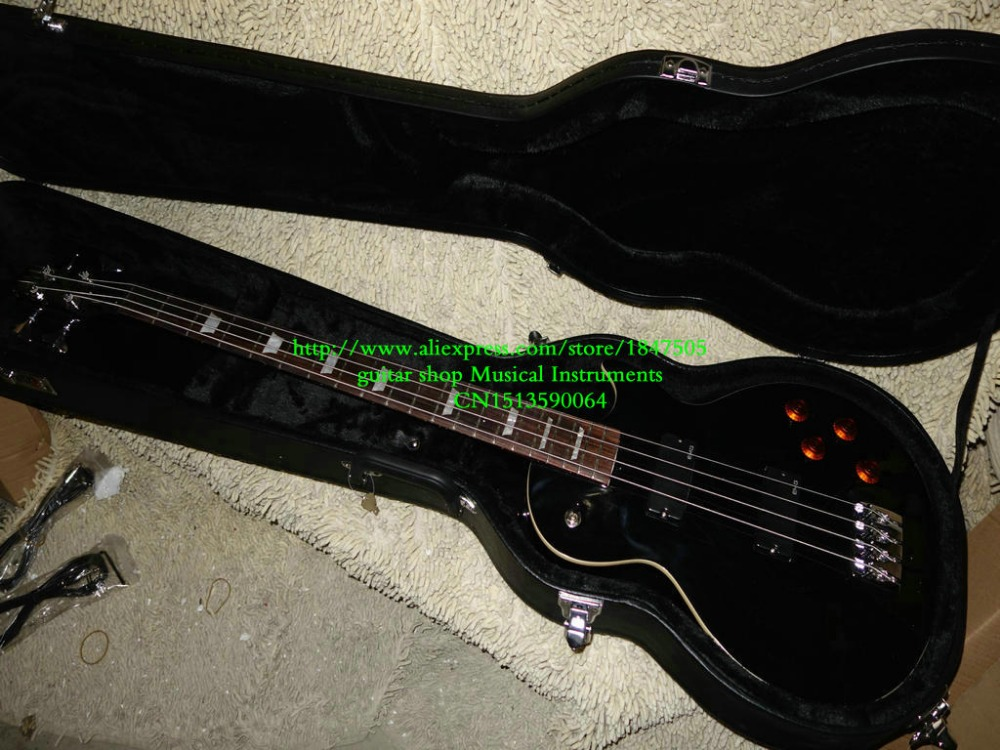 Custom Les 4 String Bass Guitar Custom shop Black LES Bass Guitar With case From China Customize any color HOT OEM Guitar china s oem firehawk custom shop electric guitar lp color shell inlays color binding double water ripple
