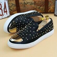 2017 Fashion Round Toe Rivets Men Genuine Leather Shoes Men Dress Shoes Sneakers Shoes Hombre Men Shoes Hairstylist Casual Shoes roegre 2017 men