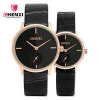 Promotion CHENXI Brand Fashion Leather Man Women Quartz Wristwatch Ultra Thin Watch Case Lovers Couple Watches