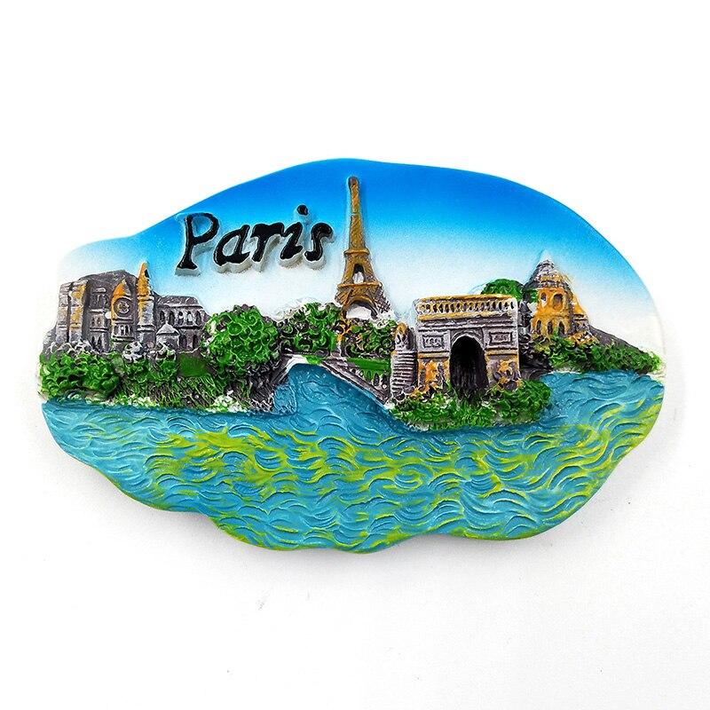 Paris Porto Romania fridge magnet souvenir tourism Resin refrigerator Magnetic sticker home decor kitchen decoration accessories in Fridge Magnets from Home Garden
