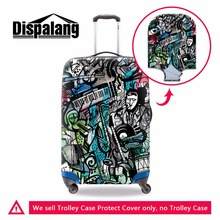 Dispalang Art luggage covers spandex for women travel cool suitcase cover set printed elastic luggage bag protector for duffle
