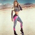 Новые женщины Спортивные Леггинсы Push-Up Спортивные Леггинсы Печати Моды Лоскутное Эластичный Тощий Фитнес Леггинсы Одежда