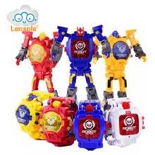 Lensple Cartoon Transformation Wristwatch Toy Creative Electronic Robot Watch for Boy Children Deform Sport Gift