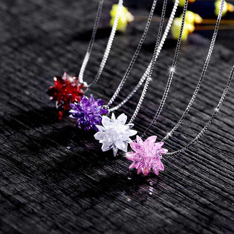 4color Fashion jewelry Best Quality 925 silver Crystals From Swarovskis Pendant Necklaces Women Handmade Wedding necklace