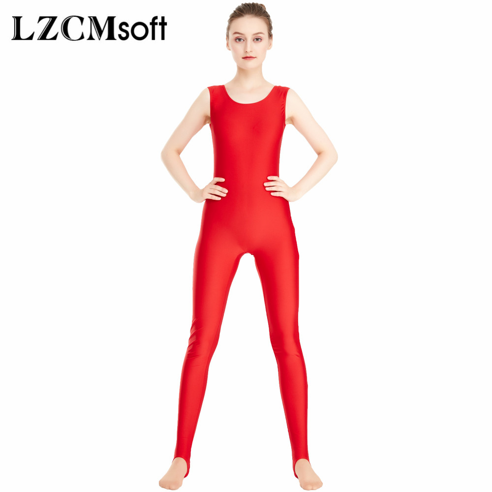 for whole family new design discount up to 60% US $20.99 30% OFF LZCMsoft Womens Shiny Black Unitard With Yoga Stirrups  One Piece Tank Jumpsuit Rompers Adult Spandex Bodysuit Sport No Zipper-in  ...