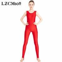 LZCMsoft Womens Shiny Black Unitard With Yoga Stirrups One Piece Tank Jumpsuit Rompers Adult Spandex Bodysuit Sport No Zipper