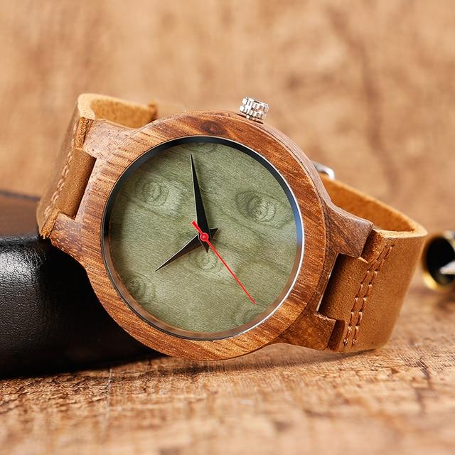 Top Gift Wood Watches Men's Unique 100% Nature Wooden Bamboo Handmade Quartz Wrist Watch Male Sport Red Hands Clock Masculino