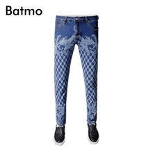 2017 new arrival high quality classic elastic casual slim plaid printed jeans men,men's casual blue jeans ,size 28 to 36