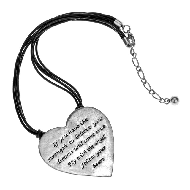 """Heart necklace black leather women biker jewelry gifts for her wife mom antique silver color YJ13 wholesale dropshipping (18+2)"""""""