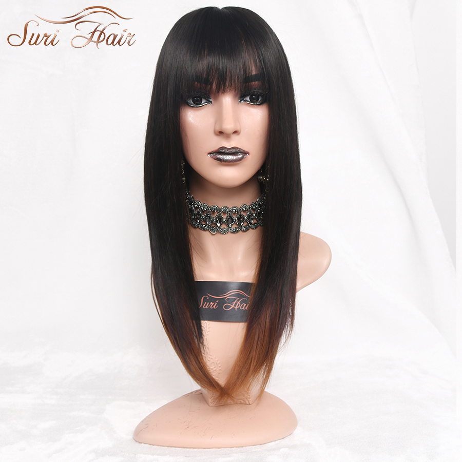 """Suri Hair 22"""" Ombre Straight Synthetic Wigs For African American Black Women Long Black Mixed Brown Two Tone Wigs With Bangs"""