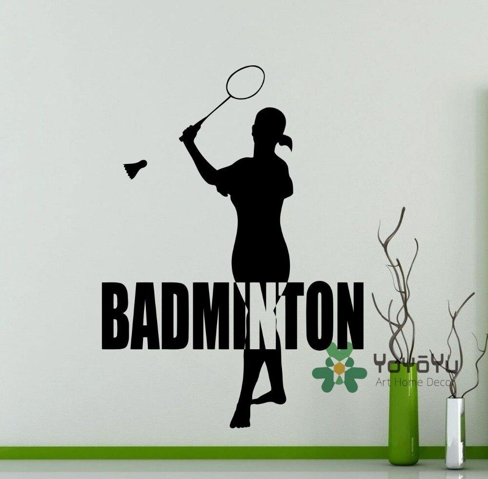 Girls Badminton Player Wall Decal Shuttlecock Racquet Sports Vinyl Sticker DIY Art Home Wall Room Decor Mural Adesivo NY-165