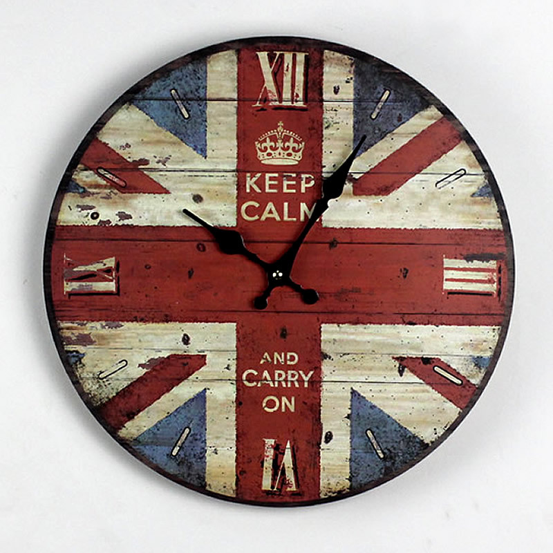 nostalgia british style stars and stripes wooden wall clock home office reloj decoration large wall watch